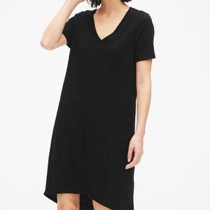 V Neck Short Sleeve Black Summer Tee Shirt Dress